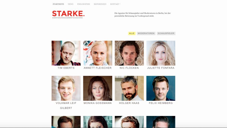 Website Redesign der Schauspieleragentur Starke